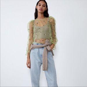 Zara Sheer Green Embroidered Flower Blouse Sz Med